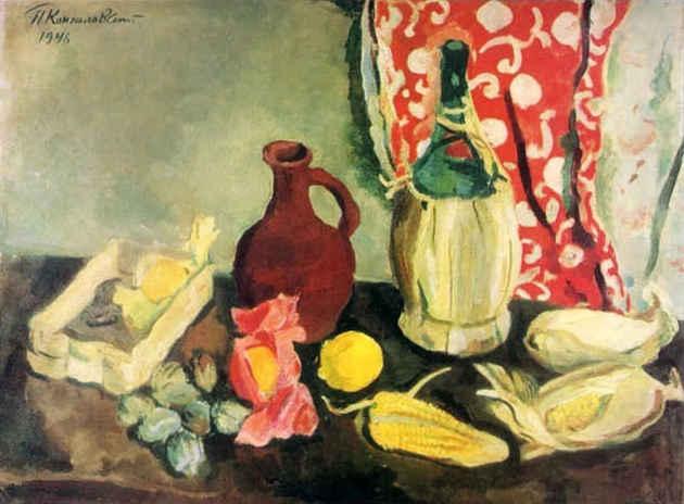Южный натюрморт. Бутылка и кукуруза. 1946