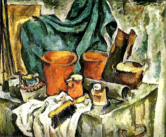 Петр Кончаловский.Сундук и глиняная посуда. 1919